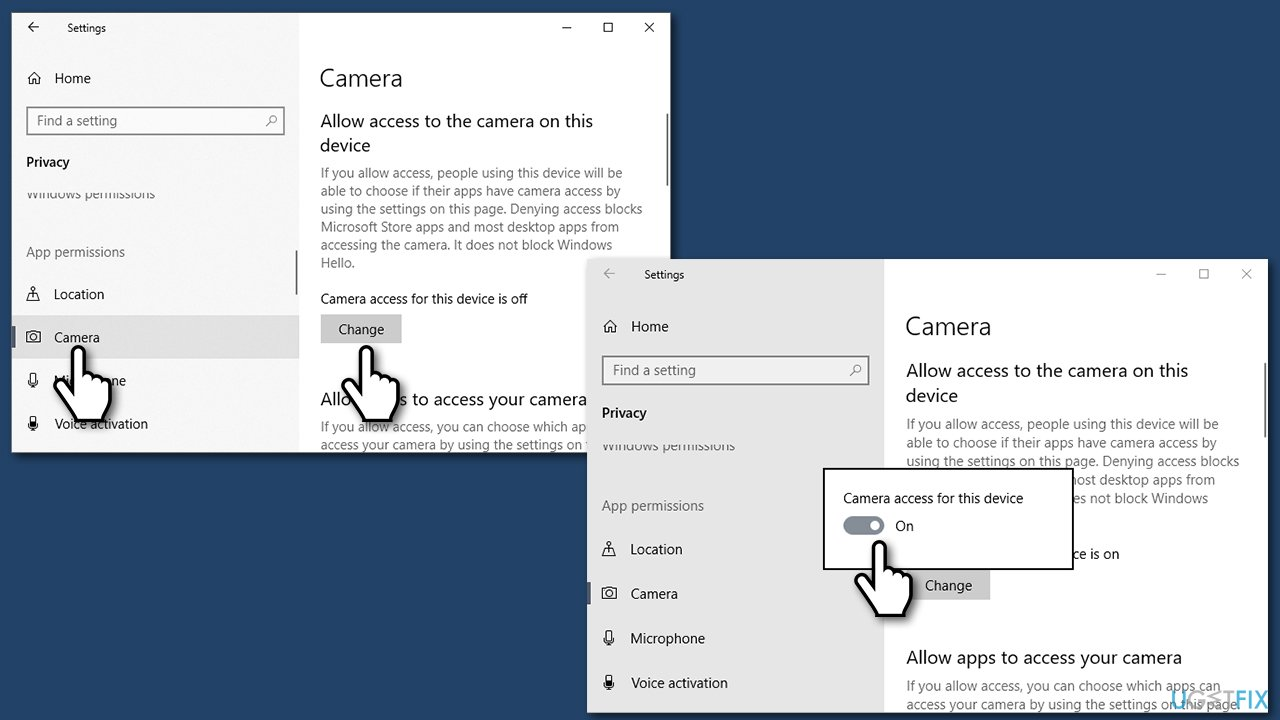 Check privacy settings for camera