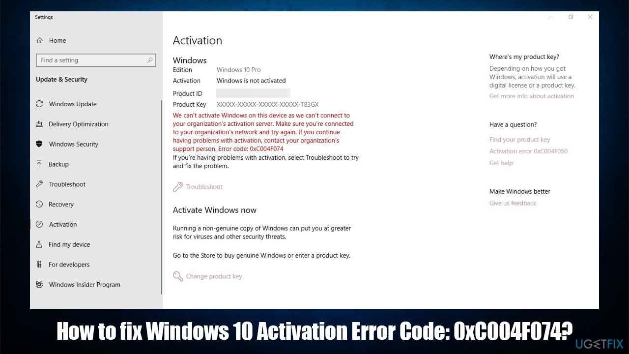 How to fix Windows 10 Activation Error 0xC004F074?