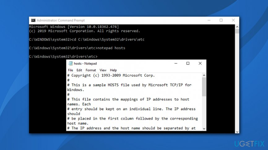 Access hosts file via command prompt
