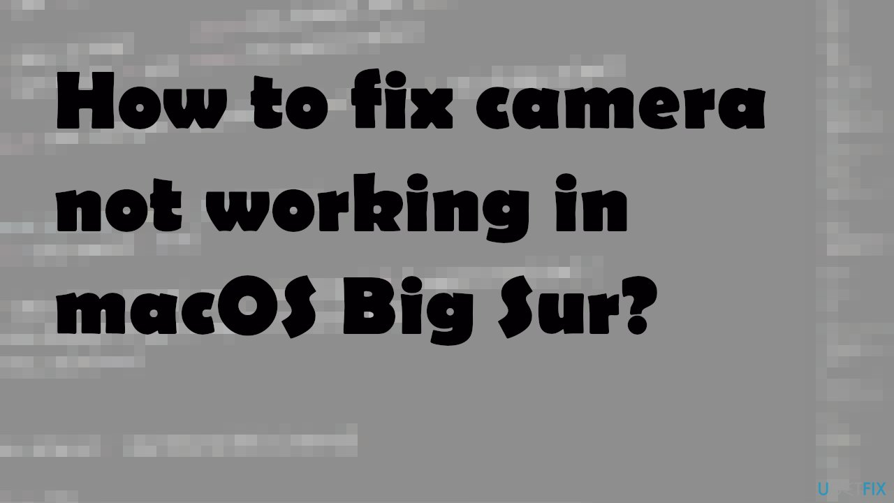 Camera not working in macOS Big Sur