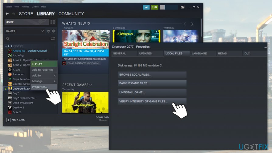 Verify game file integrity on Steam