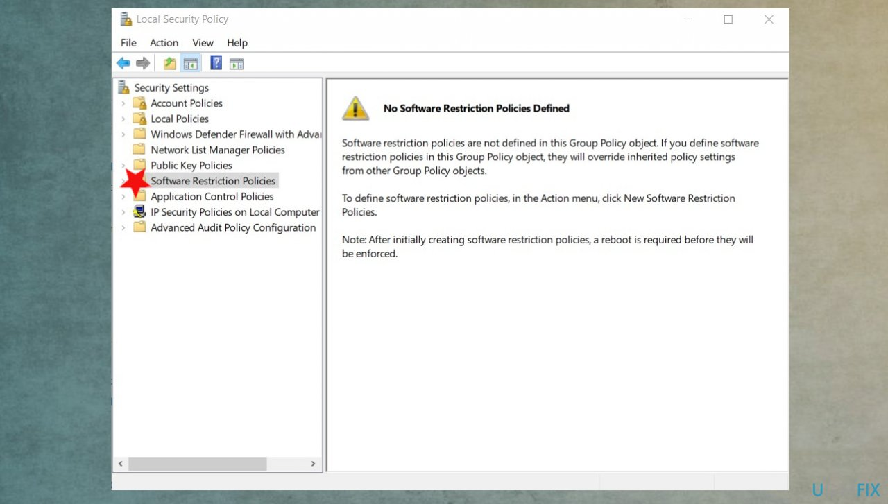 Security policy settings