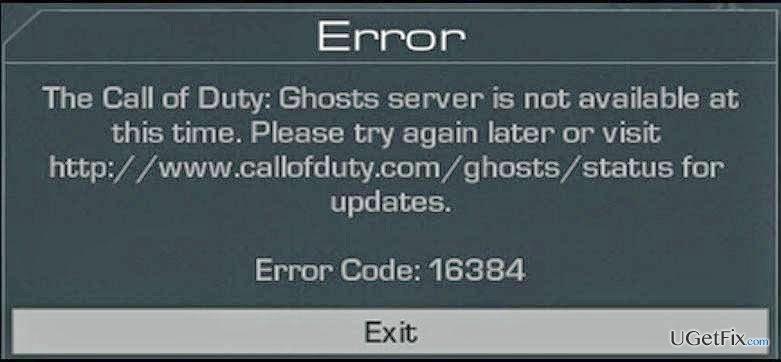 Error Code 16384 snapshot