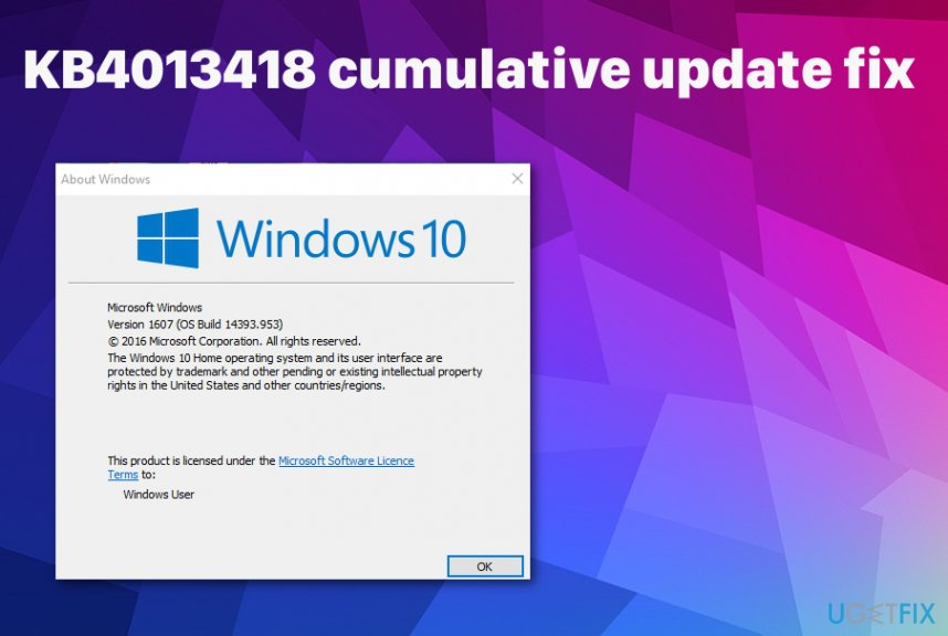 KB4013418 cumulative update fix