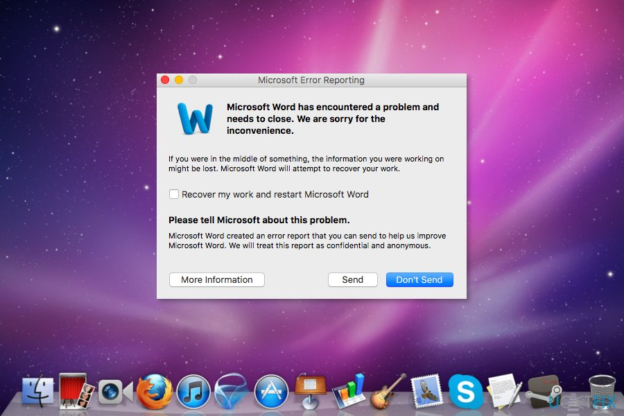 "Fix ""Microsoft Word has encountered a problem and needs to close"" Error on Mac"