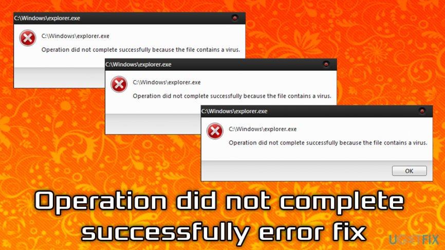 Fix Operation did not complete successfully
