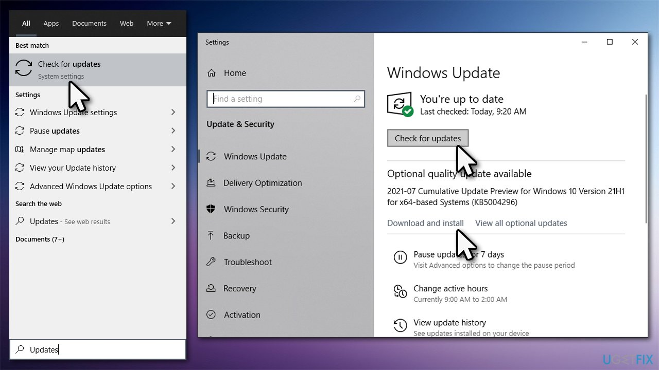 Install all the available Windows updates