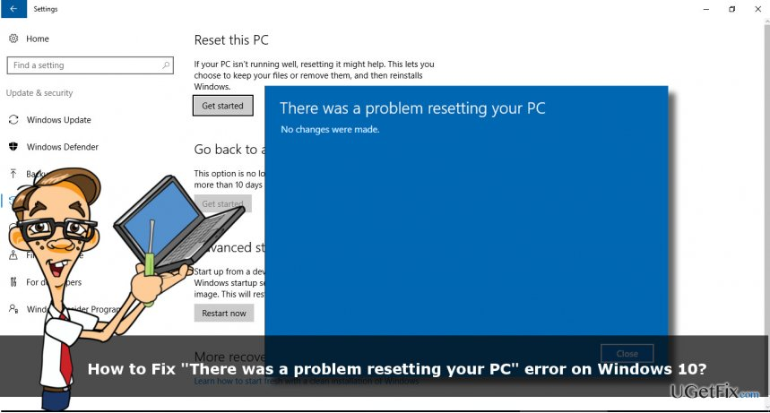 "a printscreen of ""There was a problem resetting your PC"" error"