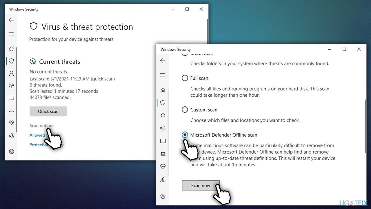 Run Windows Defender offline scan