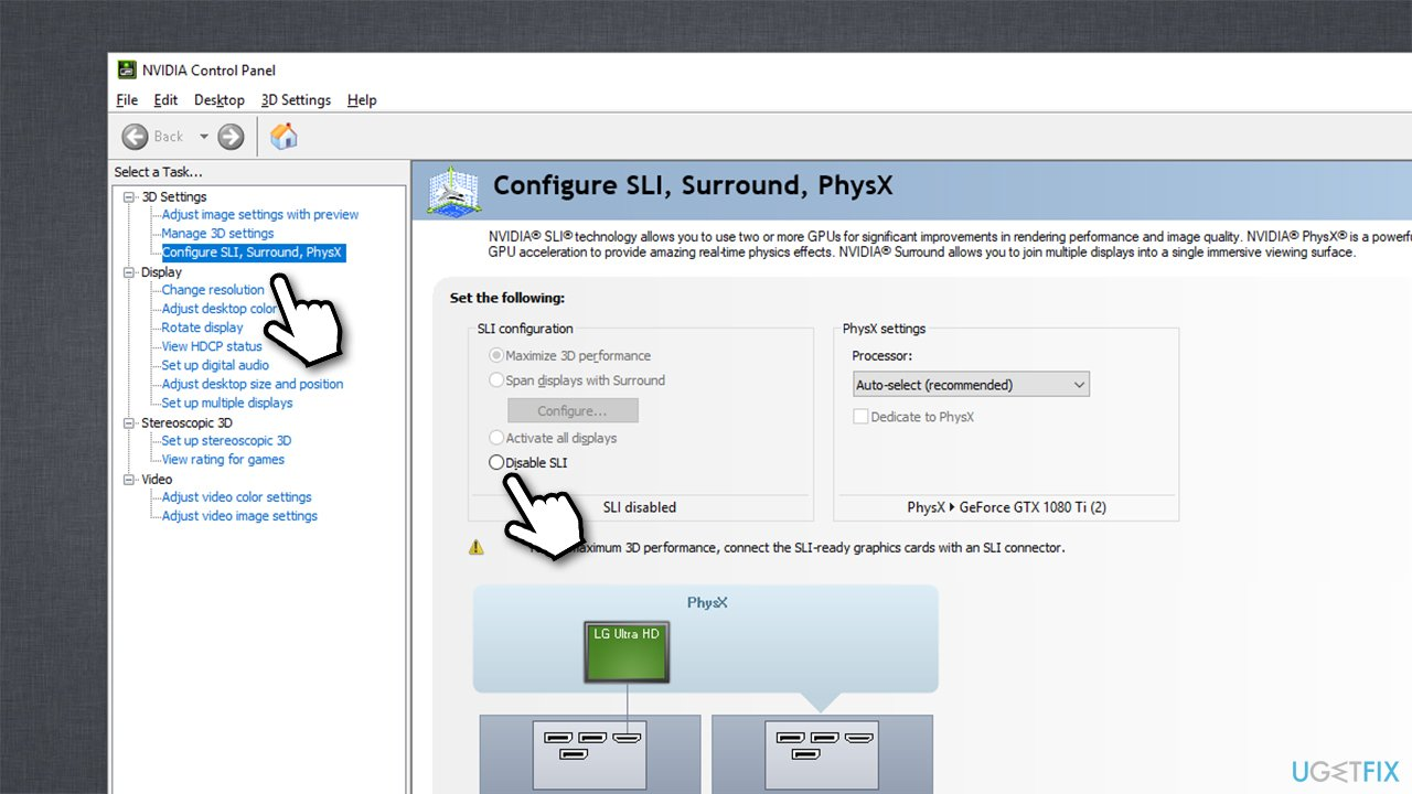 Disable SLI via Nvidia Control Panel