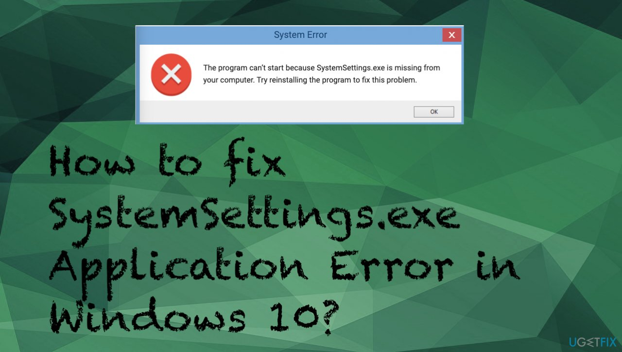 SystemSettings.exe application error