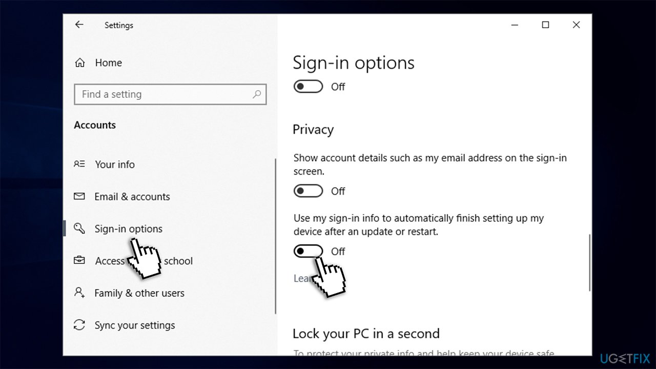 Change sign-in options