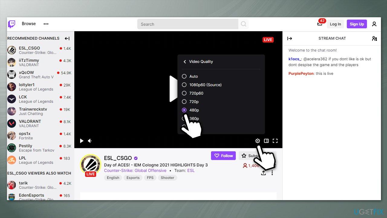 Reduce stream quality on Twitch