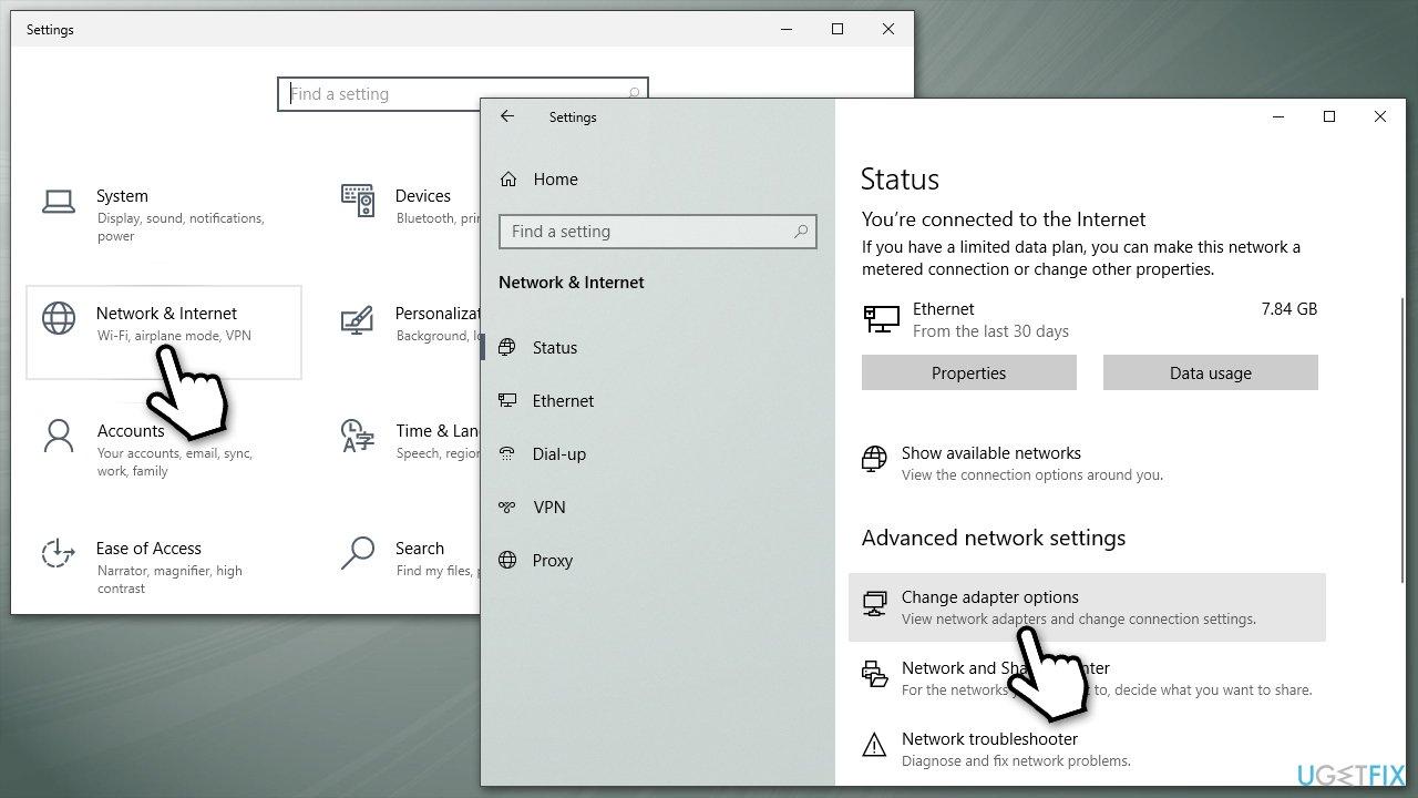 Access internet options
