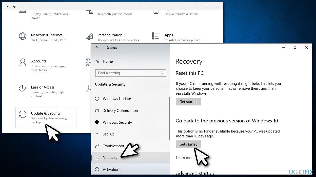 Revert to previous Windows 10 version