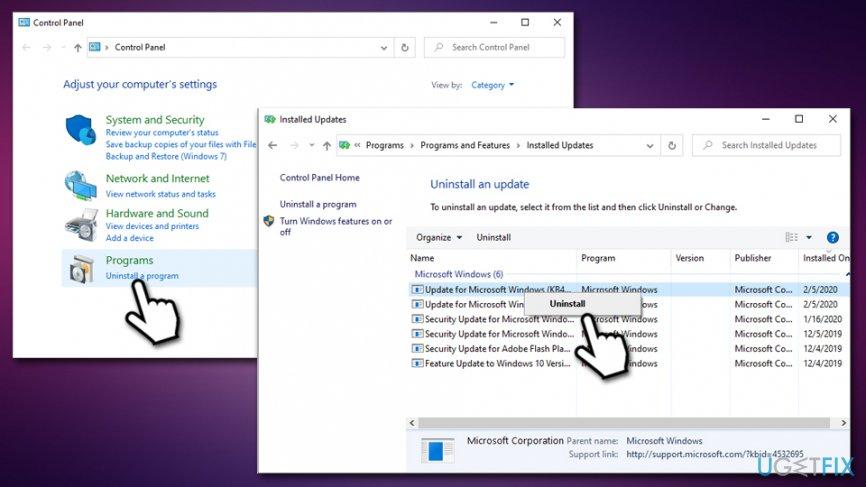 Uninstall latest Windows updates