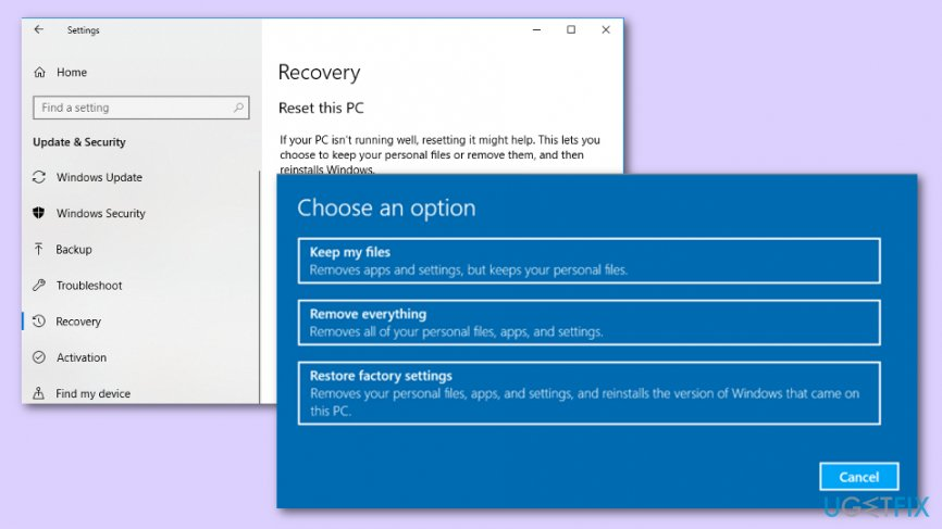 Uninstall Windows Updates by using Factory Restore