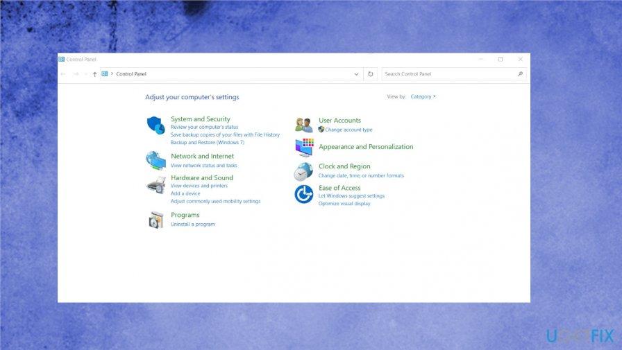 Control Panel menu