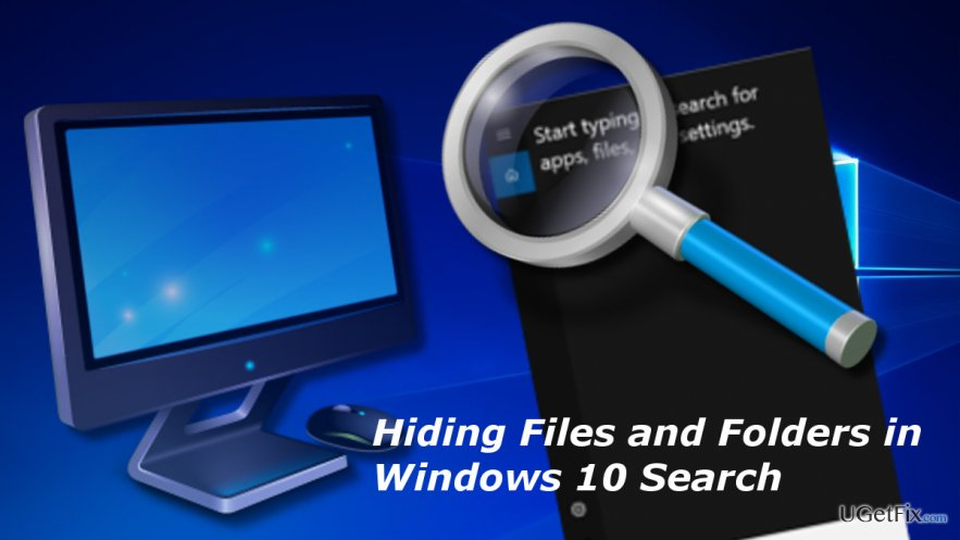 ilustrating Windows 10 search with hidden items