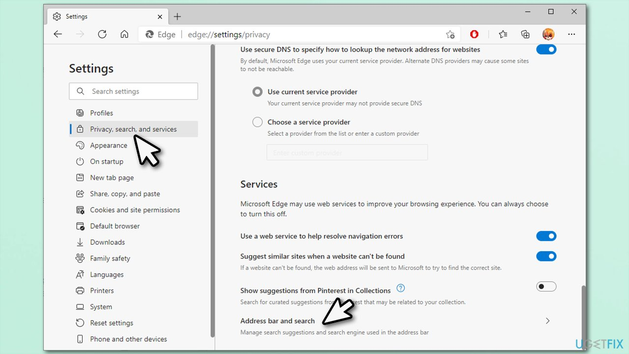 Address bar and search options
