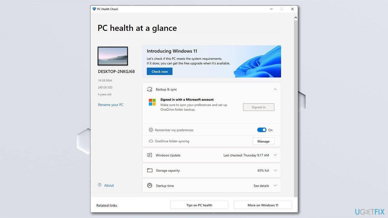 Run a check for Windows 11