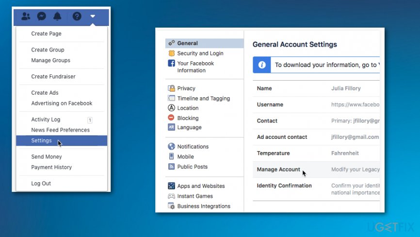 Go to Settings of your Facebook account