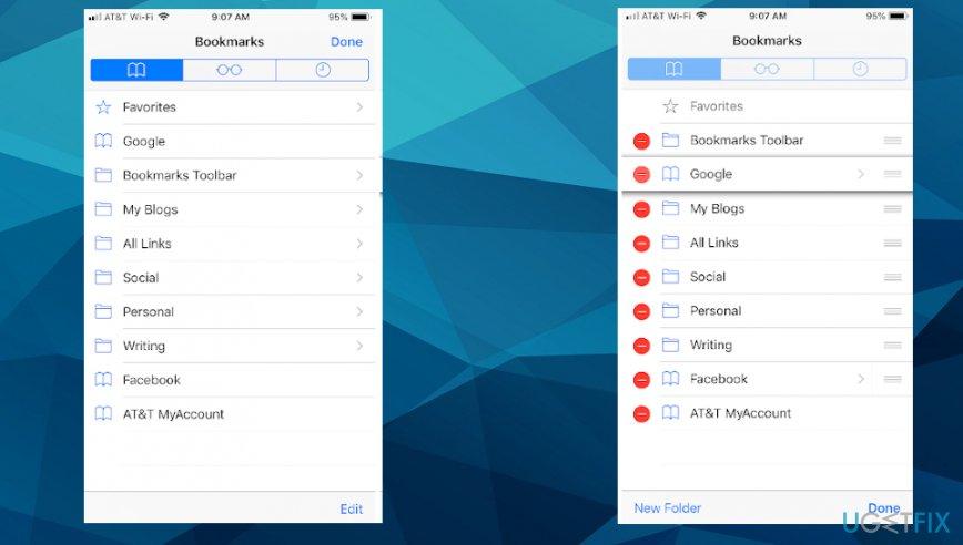 iOS safari settings