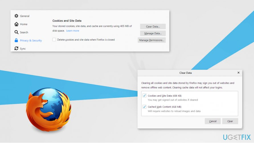 Clearing Firefox cookies