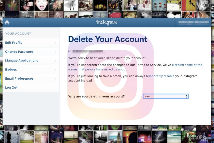 How to delete your instagram account ccuart Image collections