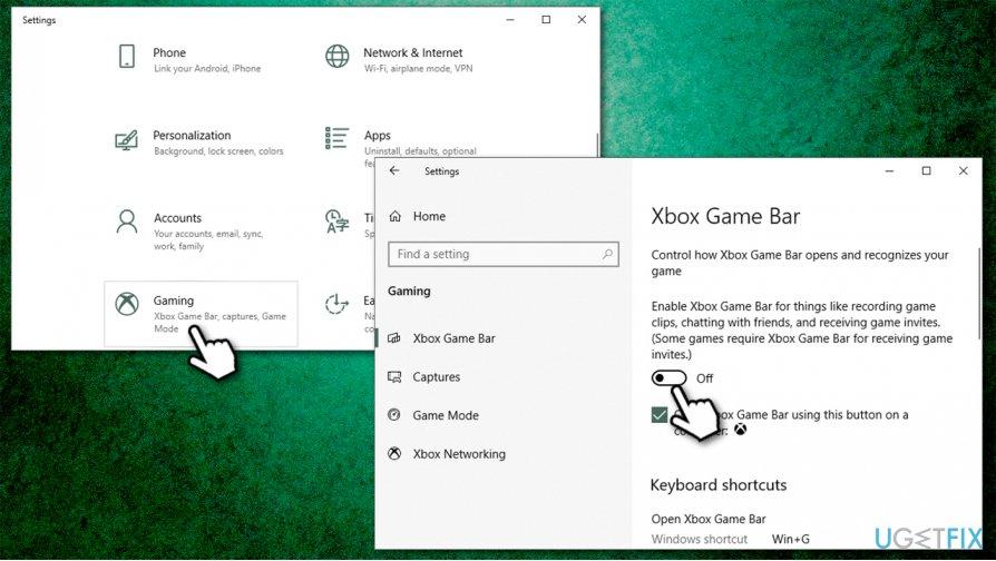 Disable Game Bar via Settings