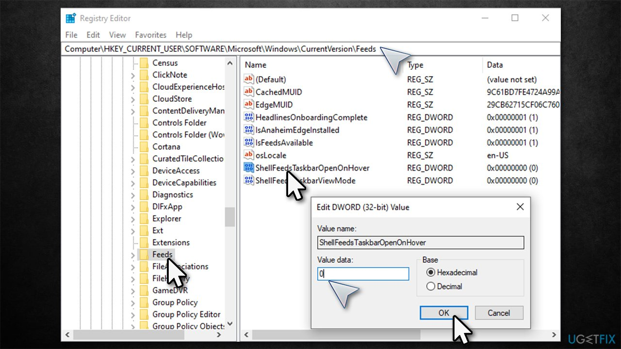Disable News and interests via the Registry