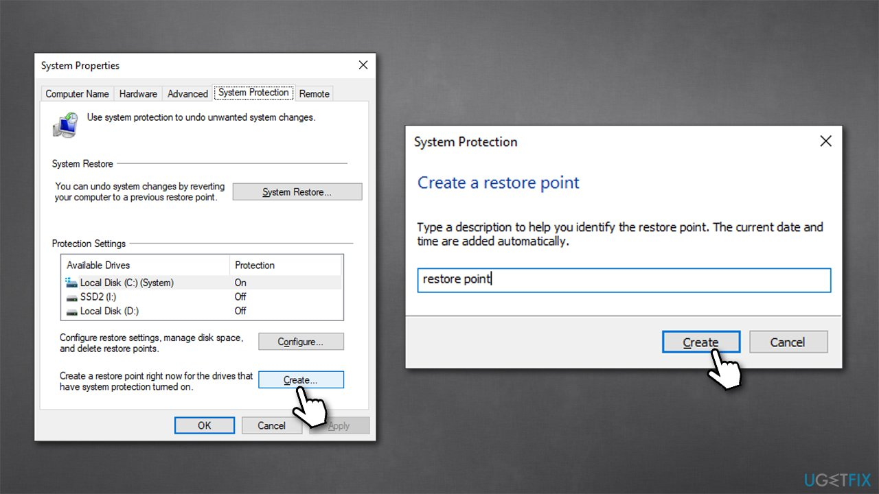 Create a restore points