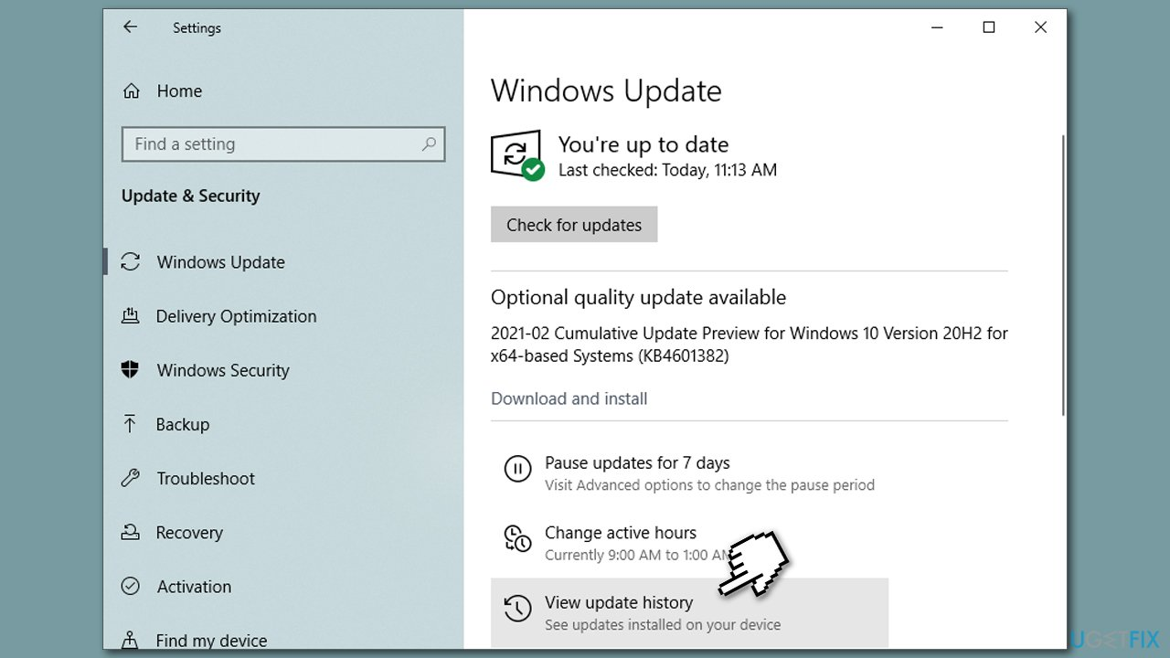 Check update history