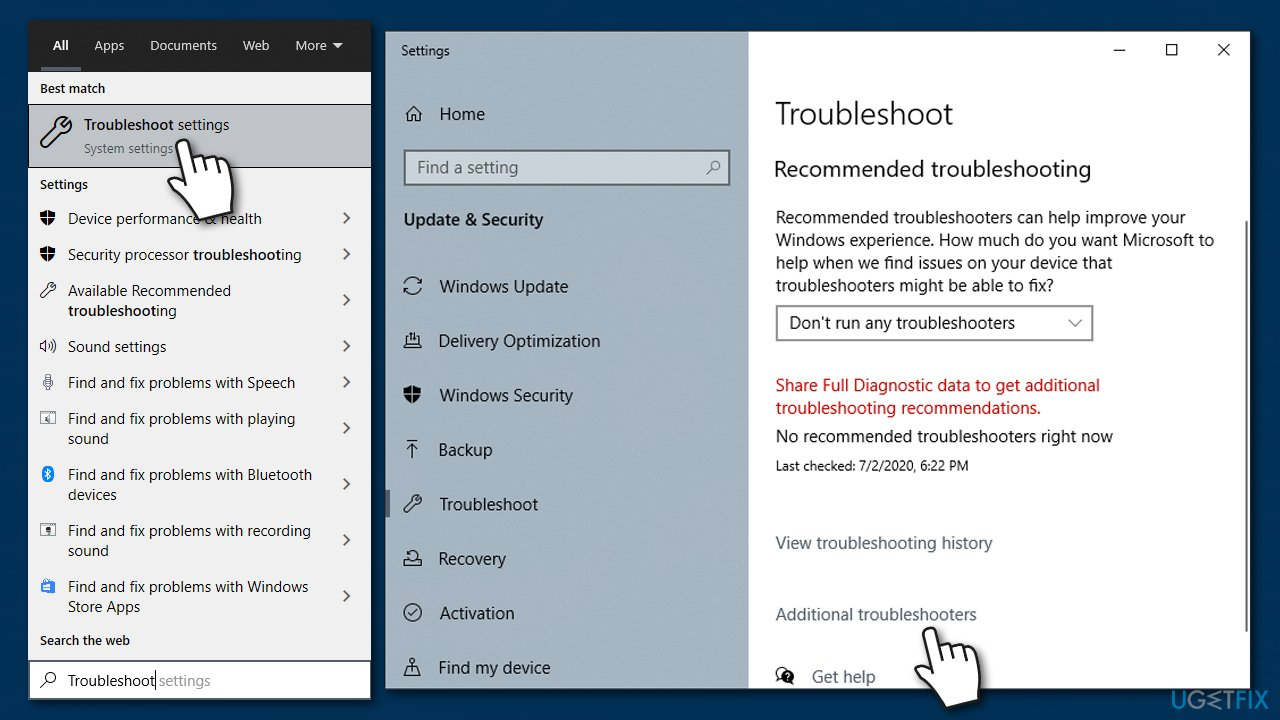 Select Additional troubleshooter