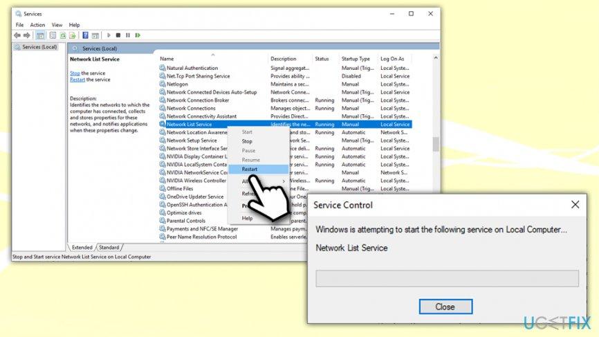 Restart Network List Service