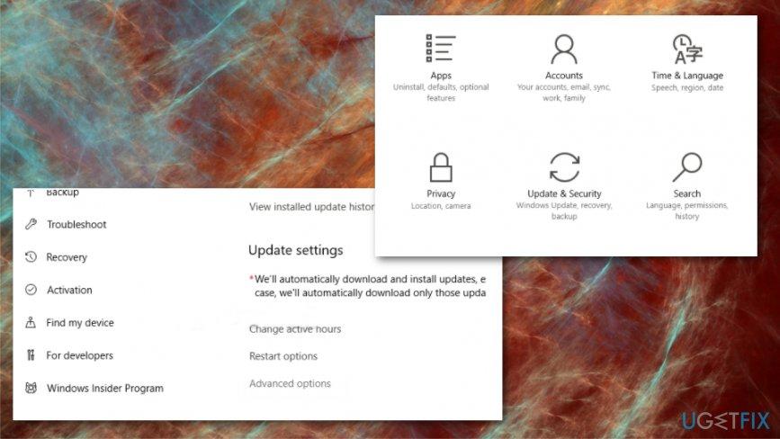 Go through Update settings