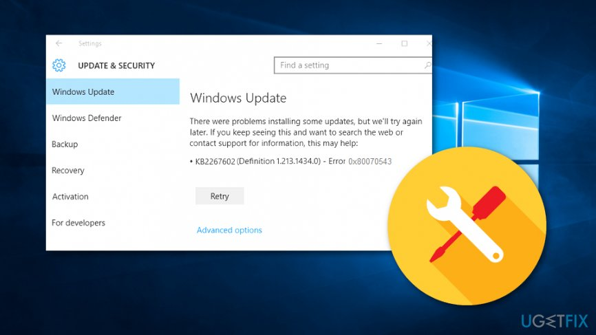 How to Fix Windows Update Error 0x80070543?