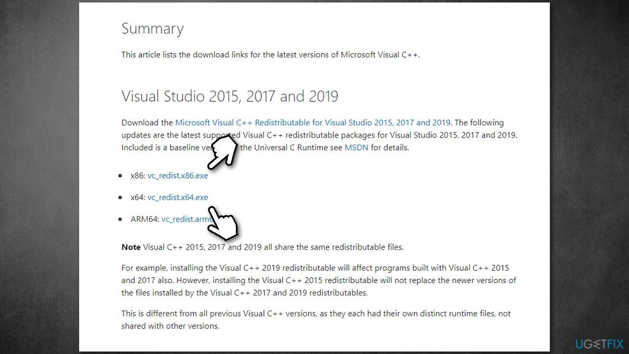 Download Visual C++ Redistributable