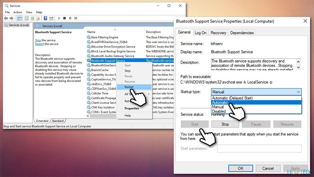 Restart Bluetooth service