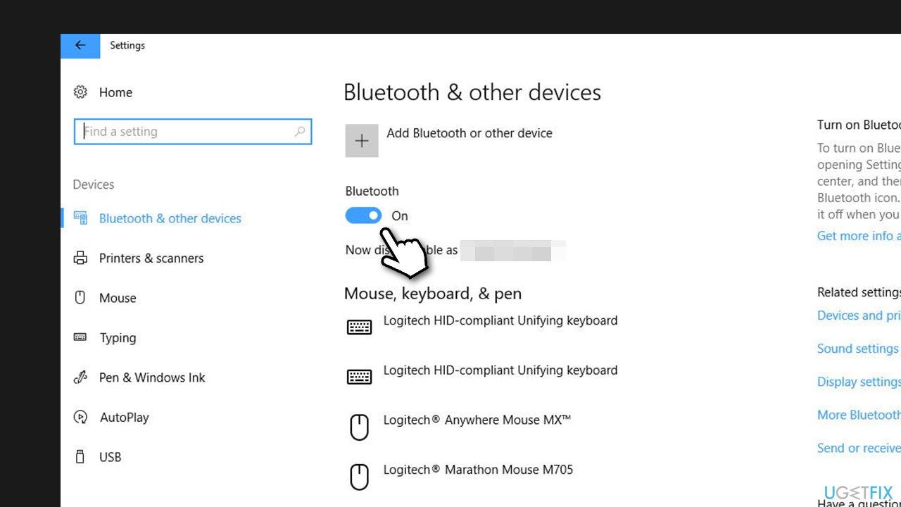Check Bluetooth via Settings