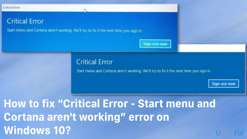 fix windows 10 critical error start menu