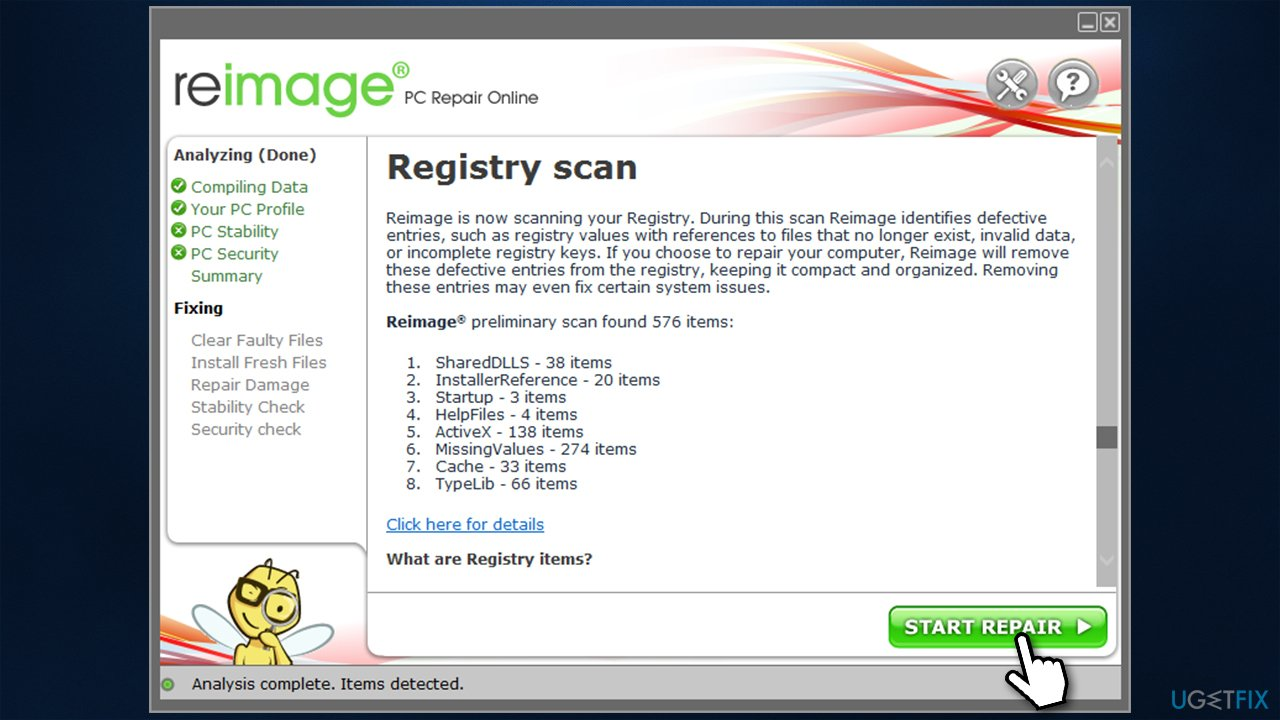 Scan your PC with repair tool