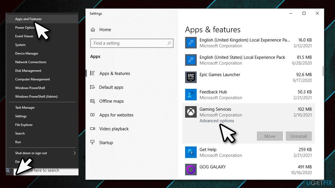 Access Advanced app options