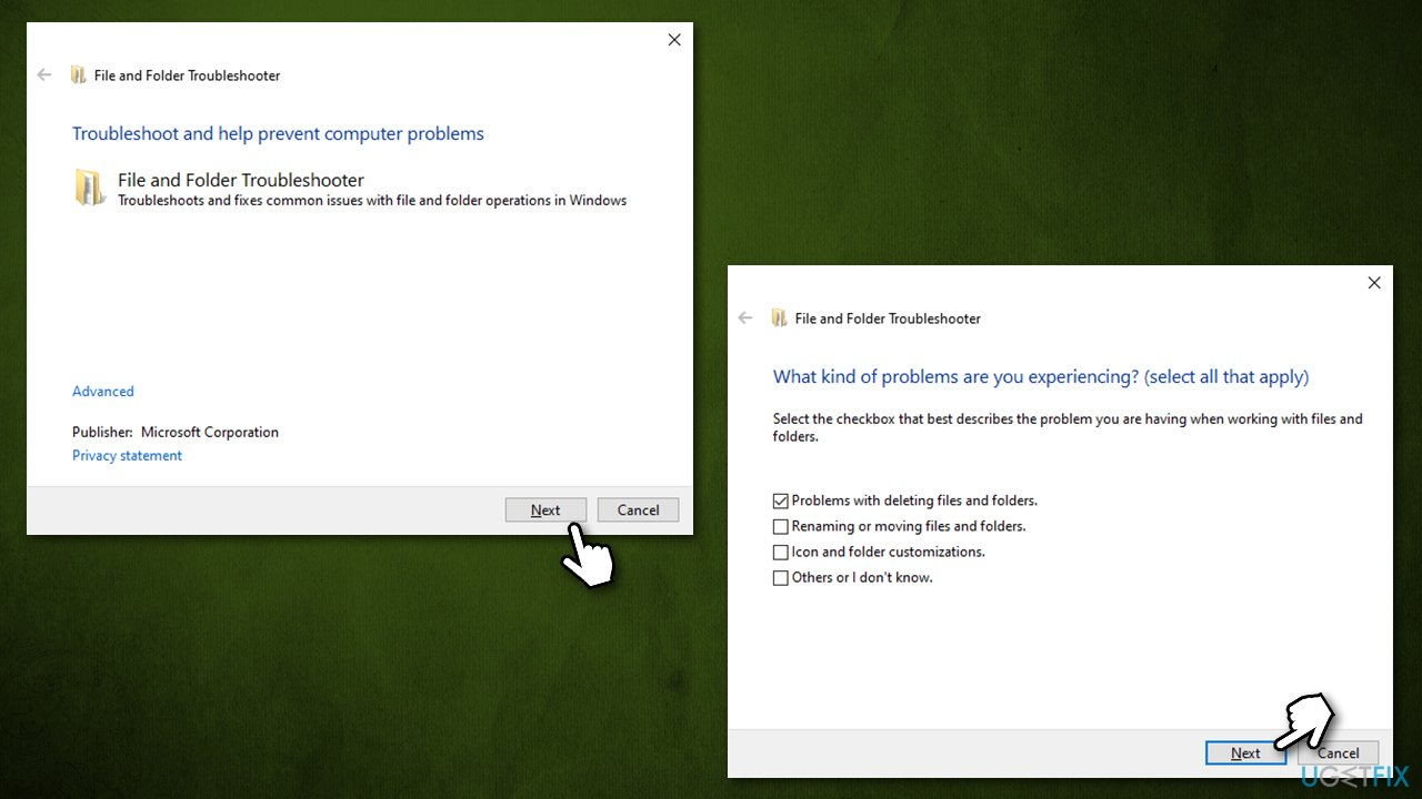 Run File and Folder troubleshooter