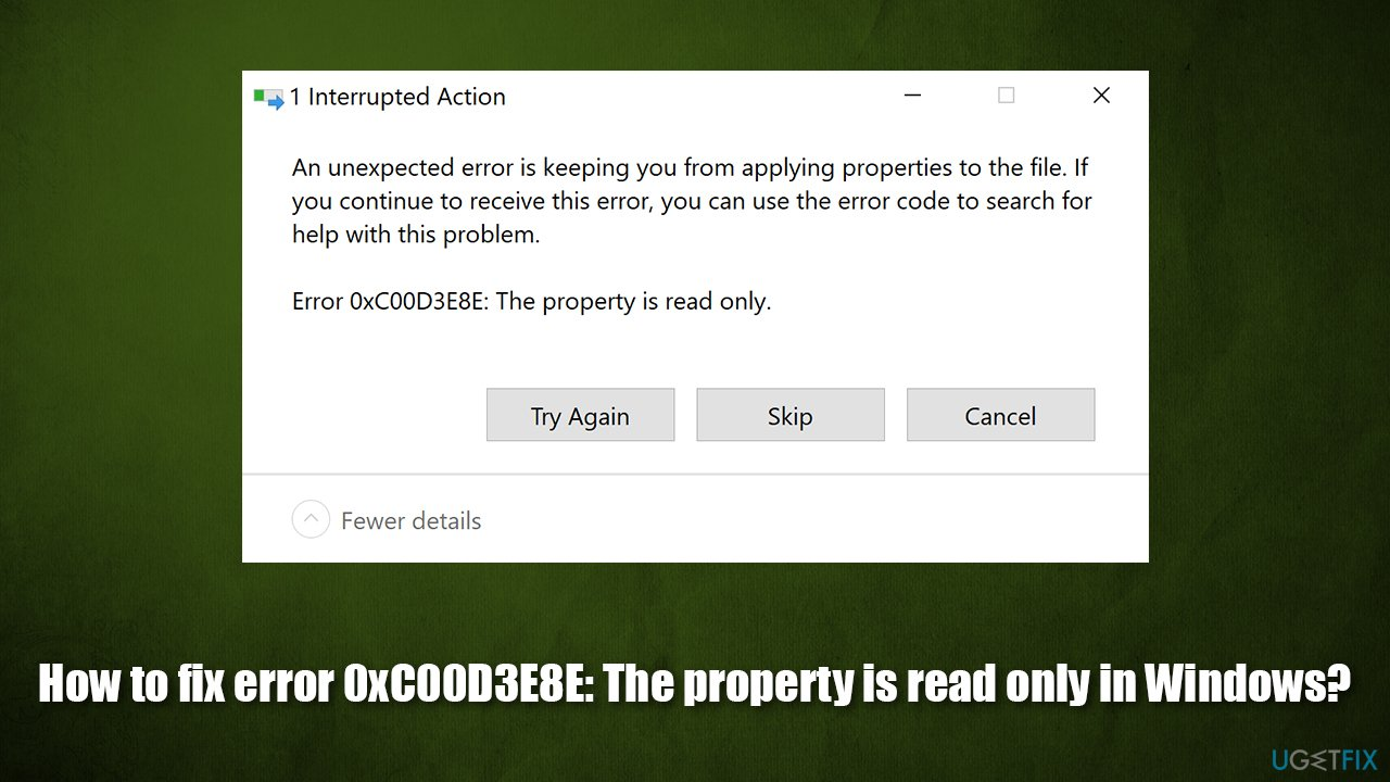 How to fix error 0xC00D3E8E: The property is read only in Windows?