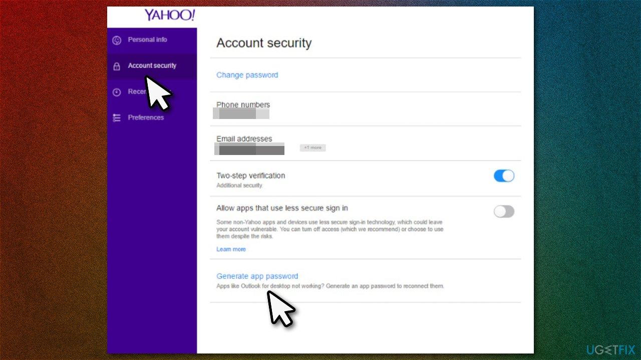 Generate new password via browser