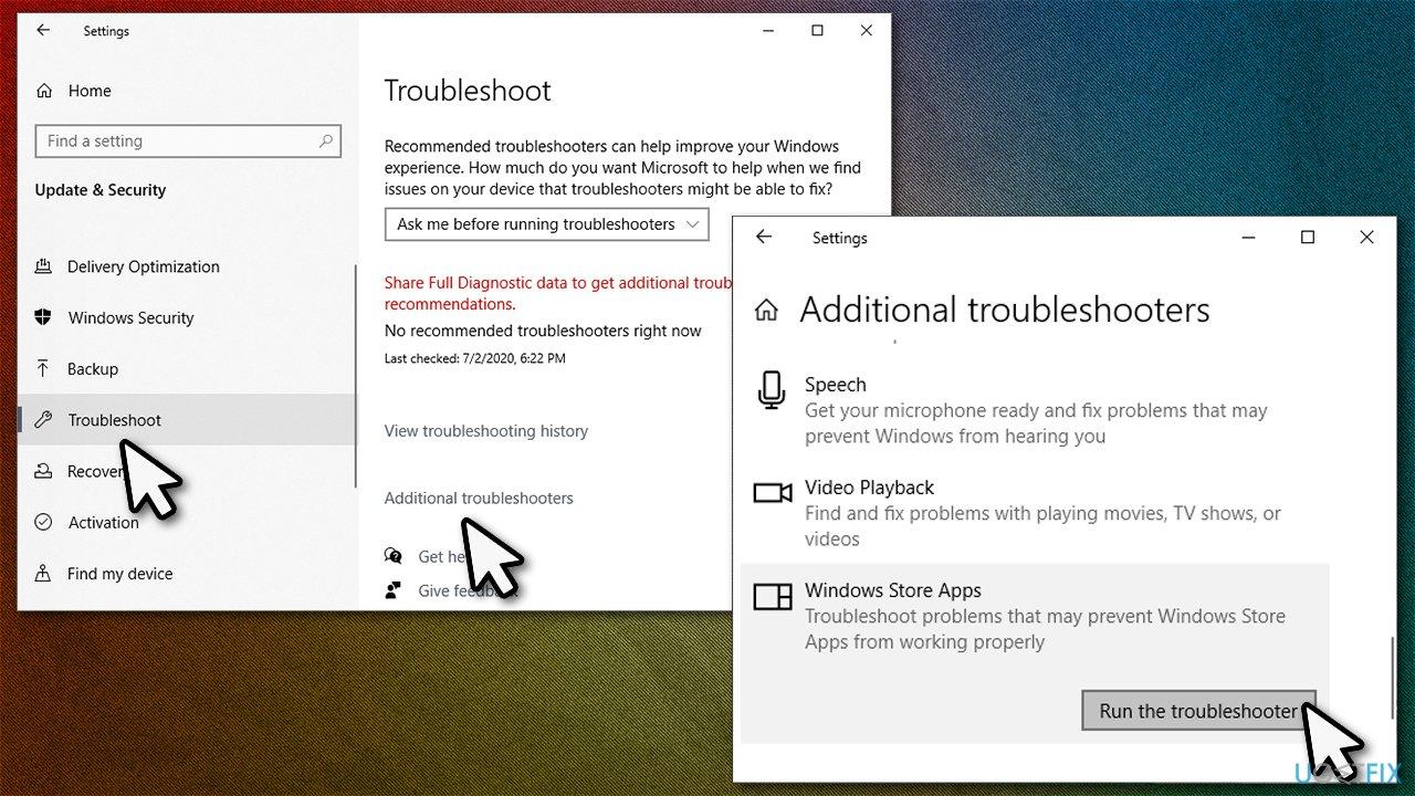 Run Windows apps troubleshooter