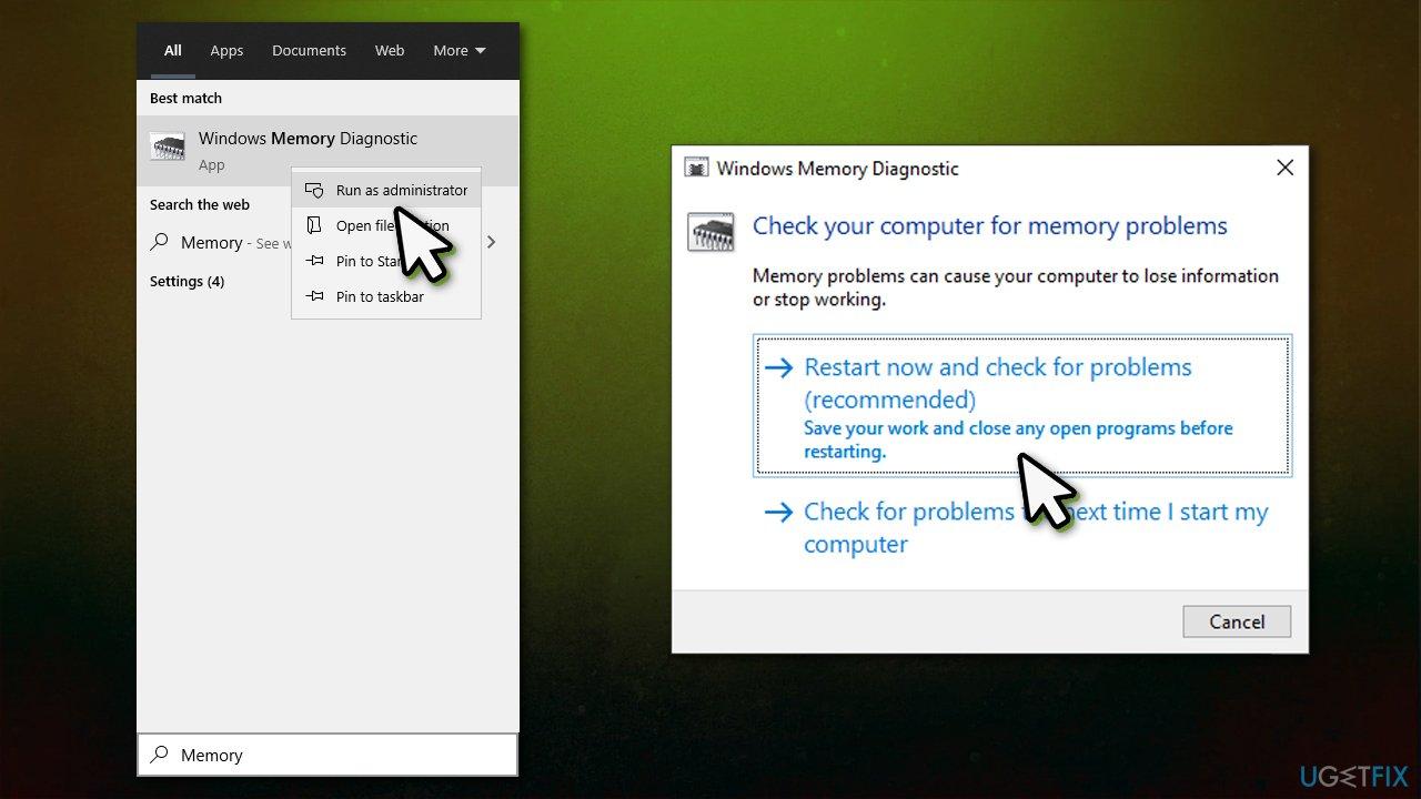 Run Windows Memory Diagnostic tool