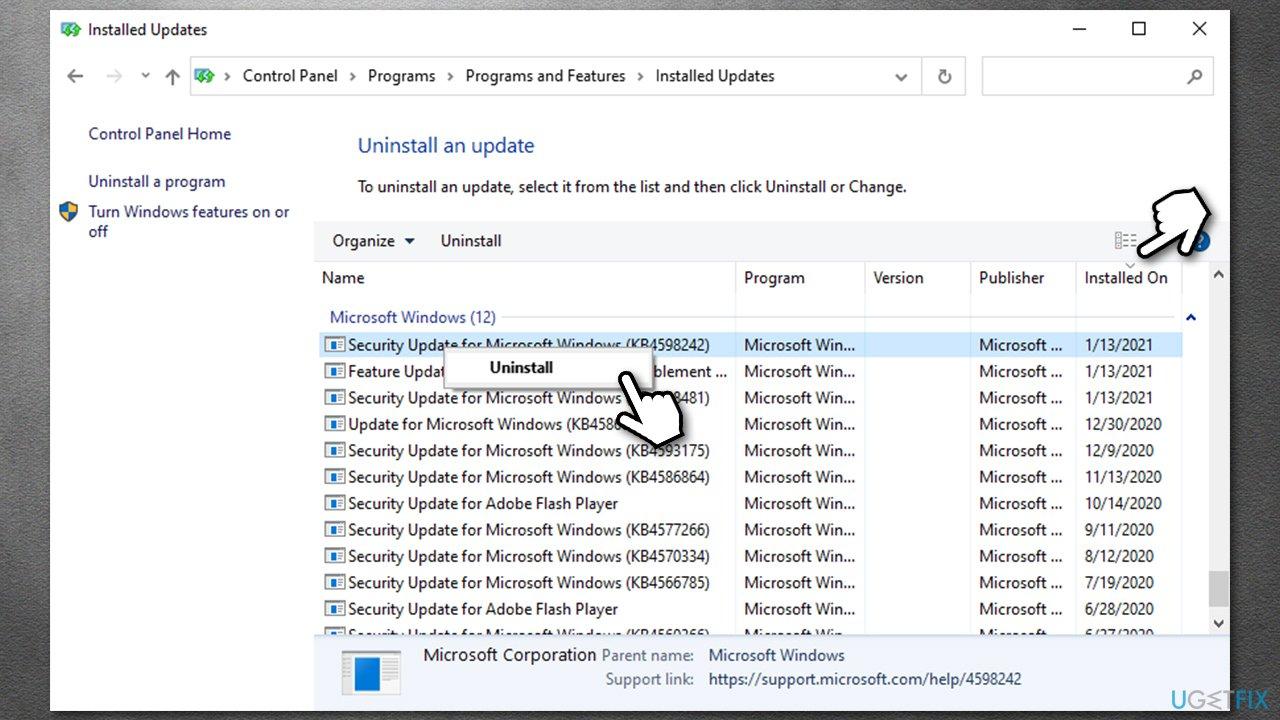Uninstall Windows updates2