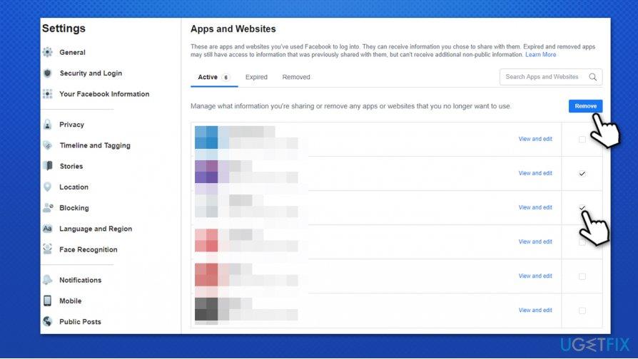 Remove Facebook apps
